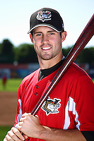 Tri-City ValleyCats second baseman John Hinson #3 poses for a photo before a game against the Batavia Muckdogs at Dwyer Stadium on July 15, 2011 in Batavia, New York.  Batavia defeated Tri-City 4-3.  (Mike Janes/Four Seam Images)