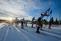 The start of the Junior Male 10K Classic during the 2018 U.S. National Cross Country Ski Championships at Kincaid Park in Anchorage.