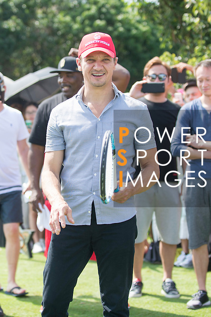 Jeremy Renner plays tennis at the 10th hole during the World Celebrity Pro-Am 2016 Mission Hills China Golf Tournament on 22 October 2016, in Haikou, China. Photo by Marcio Machado / Power Sport Images