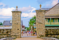 The old City Gates looking down St. George Street in the Nation's Oldest City,   St. Augustine, Florida