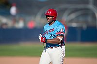 Spokane Indians first baseman Curtis Terry (28) during a Northwest League game against the Vancouver Canadians at Avista Stadium on September 2, 2018 in Spokane, Washington. The Spokane Indians defeated the Vancouver Canadians by a score of 3-1. (Zachary Lucy/Four Seam Images)