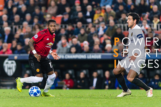 Fred Rodrigues of Manchester United (L) in action against Daniel Parejo Munoz of Valencia CF (R) during the UEFA Champions League 2018-19 match between Valencia CF and Manchester United at Estadio de Mestalla on December 12 2018 in Valencia, Spain. Photo by Maria Jose Segovia Carmona / Power Sport Images
