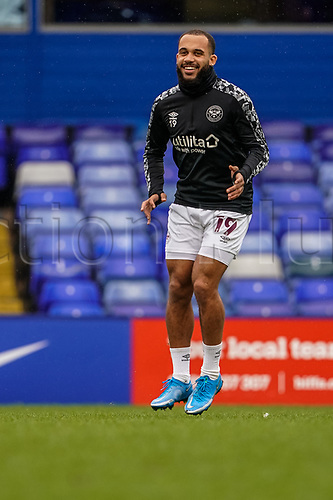 20th February 2021; St Andrews Stadium, Coventry, West Midlands, England; English Football League Championship Football, Coventry City v Brentford; Bryan Mbeumo of Brentford warms-up prior to the match