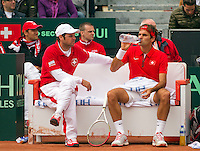 14-09-12, Netherlands, Amsterdam, Tennis, Daviscup Netherlands-Swiss,  Swiss bench with Roger Federer and captain Severin Luthi