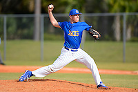South Dakota State Jackrabbits pitcher Chad Hodges #34 during a game against the Ohio State Buckeyes at North Charlotte Regional Park on February 23, 2013 in Port Charlotte, Florida.  Ohio State defeated South Dakota State 5-2.  (Mike Janes/Four Seam Images)