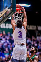 19 January 2019: University of Vermont Catamount Forward Anthony Lamb, a Junior from Toronto, Ontario, dunks one in first half Men's Basketball action against the Binghamton University Bearcats at Patrick Gymnasium in Burlington, Vermont. The Catamounts defeated the Bearcats 78-50 to remain unbeaten in conference play to date this season. Mandatory Credit: Ed Wolfstein Photo *** RAW (NEF) Image File Available ***