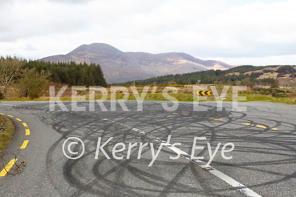 rubber from tyres after doughnuts were done on the Ladies View to Molls Gap road over the weekend