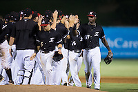 Micker Aldofo (37) of the Kannapolis Intimidators high fives his teammates after their win over the Lexington Legends at Kannapolis Intimidators Stadium on July 14, 2016 in Kannapolis, North Carolina.  The Kannapolis Intimidators defeated the Lexington Legends 4-2.  (Brian Westerholt/Four Seam Images)
