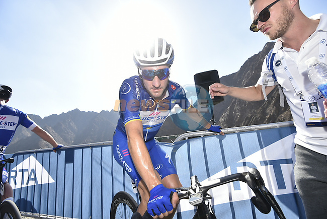 Elia Viviani (ITA) Quick-Step Floors holds onto the race lead after Stage 4 The Municipality Stage of the Dubai Tour 2018 the Dubai Tour's 5th edition, running 172km from Skydive Dubai to Hatta Dam, Dubai, United Arab Emirates. 9th February 2018.<br /> Picture: LaPresse/Fabio Ferrari   Cyclefile<br /> <br /> <br /> All photos usage must carry mandatory copyright credit (© Cyclefile   LaPresse/Fabio Ferrari)