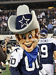 The Dallas Cowboys mascot, Rowdie, in action during the Thanksgiving Day game between the Miami Dolphins and the Dallas Cowboys at the Cowboys Stadium in Arlington, Texas. Dallas defeats Miami 20 to 19...
