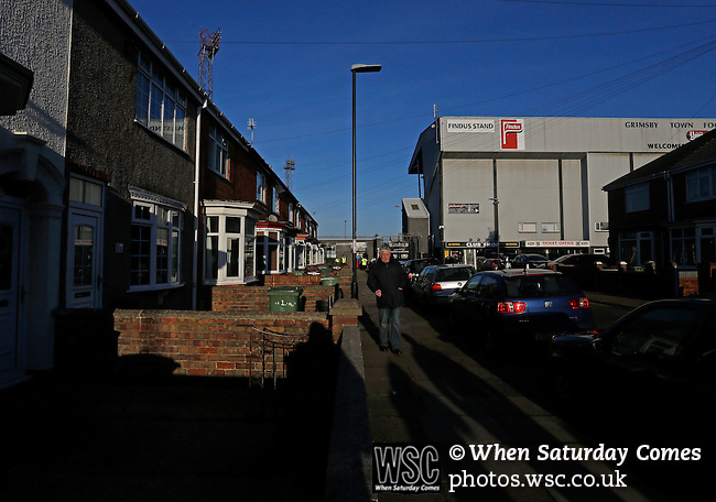 Grimsby Town 1 Lincoln City 3, 28/12/2014. Blundell Park, Football Conference. The FIndus Stand at Blundell Park. Like many late victorian football grounds, Blundell Park is surrounded by terraced houses.  Photo by Paul Thompson.