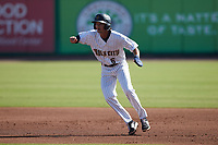 Alika Williams (6) of the Charleston RiverDogs takes his lead off of first base against the Augusta GreenJackets at Joseph P. Riley, Jr. Park on June 27, 2021 in Charleston, South Carolina. (Brian Westerholt/Four Seam Images)