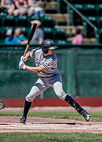 19 July 2018: Staten Island Yankee outfielder Brandon Lockridge in action against the Vermont Lake Monsters at Centennial Field in Burlington, Vermont. The Lake Monsters edged out the Yankees 2-1 in NY Penn League action. Mandatory Credit: Ed Wolfstein Photo *** RAW (NEF) Image File Available ***