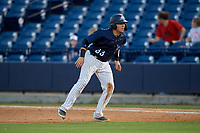 Tampa Tarpons Donny Sands (33) leads off first base during a Florida State League game against the Daytona Tortugas on May 17, 2019 at George M. Steinbrenner Field in Tampa, Florida.  Daytona defeated Tampa 8-6.  (Mike Janes/Four Seam Images)