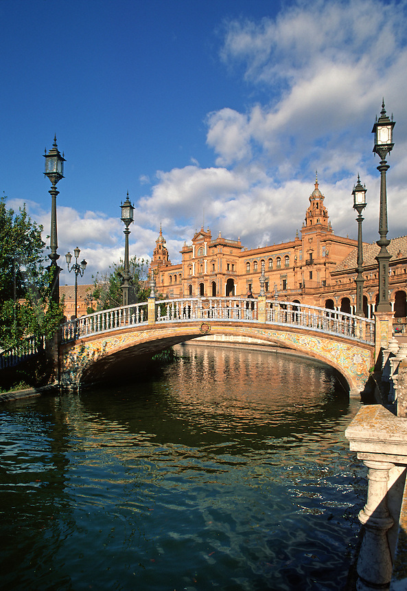 The CANAL of the PLAZA DE ESPANA which was built for the 1929 WORLD FAIR - SEVILLA, SPAIN