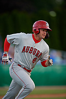 Auburn Doubledays Colton Pogue (6) runs to first base during a NY-Penn League game against the Batavia Muckdogs on June 14, 2019 at Dwyer Stadium in Batavia, New York.  Batavia defeated 2-0.  (Mike Janes/Four Seam Images)