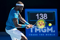 10th February 2021, Melbourne, Victoria, Australia; Frances Tiafoe of the United States of America returns the ball during round 2 of the 2021 Australian Open on February 10 2020, at Melbourne Park in Melbourne, Australia.