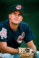 Omar Vizquel of the Cleveland Indians during a game at Anaheim Stadium in Anaheim, California during the 1997 season.(Larry Goren/Four Seam Images)
