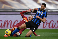 Stefan De Vrij of Inter and Rick Karsdorp of Roma<br /> during the Serie A football match between AS Roma and FC Internazionale at Olimpico stadium in Roma (Italy), January 10th, 2021. Photo Andrea Staccioli / Insidefoto