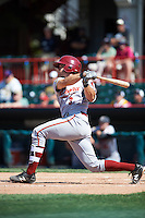 Altoona Curve third baseman Eric Wood (3) at bat during a game against the Erie SeaWolves on July 10, 2016 at Jerry Uht Park in Erie, Pennsylvania.  Altoona defeated Erie 7-3.  (Mike Janes/Four Seam Images)