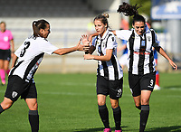 20190810 - DENDERLEEUW, BELGIUM : PAOK's Thomai Vardali (middle) pictured celebrating her goal and the 1-0 lead with teammates Grigoria Pouliou (r) and Chara Dimitriou (left)  during the female soccer game between the Greek PAOK Thessaloniki Ladies FC and the Northern Irish Linfield ladies FC , the second game for both teams in the Uefa Womens Champions League Qualifying round in group 8 , Wednesday 7 th August 2019 at the Van Roy Stadium in Denderleeuw  , Belgium  .  PHOTO SPORTPIX.BE | DAVID CATRY