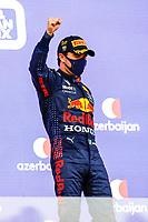 6th June 2021; F1 Grand Prix of Azerbaijan, Race Day; Race winner PEREZ Sergio mex, Red Bull Racing Honda RB16B, portrait celebrating his victory at the podium during the Formula 1 Azerbaijan Grand Prix 2021 at the Baku City Circuit