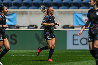 BRIDGEVIEW, IL - JUNE 5: Alyssa Mautz #4 of the Chicago Red Stars runs during a game between North Carolina Courage and Chicago Red Stars at SeatGeek Stadium on June 5, 2021 in Bridgeview, Illinois.