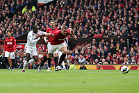 Pictured L-R: Natha n Dyer of Swansea challenging Nemanja Vidic of Manchester United.  Sunday 12 May 2013<br /> Re: Barclay's Premier League, Manchester City FC v Swansea City FC at the Old Trafford Stadium, Manchester.