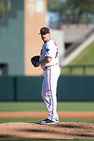 Salt River Rafters relief pitcher Adam Bray (16), of the Minnesota Twins organization, gets ready to deliver a pitch during an Arizona Fall League game against the Surprise Saguaros at Salt River Fields at Talking Stick on November 5, 2018 in Scottsdale, Arizona. Salt River defeated Surprise 4-3 . (Zachary Lucy/Four Seam Images)