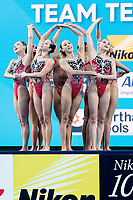 People's Republic of China CHN<br /> Synchronised swimming, Synchro<br /> Women's Team Technical Preliminary Technical Routine<br /> Day 03 16/07/2017 <br /> XVII FINA World Championships Aquatics<br /> City Park - Varosliget Lake<br /> Budapest Hungary July 14th - 30th 2017 <br /> Photo @ A.Masini/Deepbluemedia/Insidefoto
