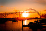 Yaquina Bay Bridge, U.S. Highway 101, Pacific Coast Scenic Byway, near Newport, Oregon.  Oregon Central Coast, beaches, bays, bars, family fun, winter storms, lighthouses, fishing boats, bluffs, fossils and beach walks.