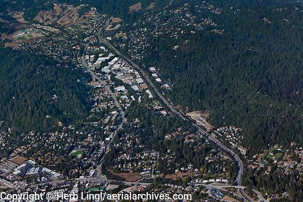 aerial photograph of Scotts Valley, Highway 17, Santa Cruz county, California