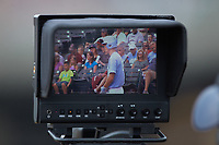 A closeup view of the monitor atop a video camera in the third base camera well during the game between the Florida State Seminoles and the North Carolina Tar Heels in the 2017 ACC Baseball Championship Game at Louisville Slugger Field on May 28, 2017 in Louisville, Kentucky. The Seminoles defeated the Tar Heels 7-3. (Brian Westerholt/Four Seam Images)