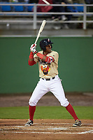 Potomac Nationals third baseman Kelvin Gutierrez (3) at bat during the second game of a doubleheader against the Salem Red Sox on May 13, 2017 at G. Richard Pfitzner Stadium in Woodbridge, Virginia.  Potomac defeated Salem 3-2.  (Mike Janes/Four Seam Images)