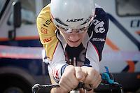 3 Days of De Panne.stage 3b: De Panne-De Panne TT..Tosh Van der Sande (BEL) warming up for the TT..