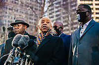 MARCH 29 - Minneapolis, MN: Reverend Al Sharpton speaks outside the Hennepin County Courthouse before the start Derek Chauvin Trial on March 29, 2021 in  Minneapolis, Minnesota. <br /> CAP/MPI/IS/CT<br /> ©CT/IS/MPI/Capital Pictures