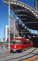 Helmut Jahn: One America Plaza--Trolley Stop.  Photo '92.