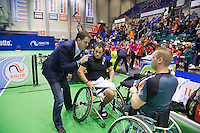 December 20, 2014, Rotterdam, Topsport Centrum, Lotto NK Tennis, Mens doubles wheelchair final winners Tom Egberink (M) with his partner Maikel Scheffers being interviewed <br /> Photo: Tennisimages/Henk Koster