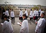 Member of the Catholic clergy celebrate Palm Sunday in Jerusalem Sunday, April 13 2014. Photo by Eyal Warshavsky