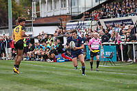 Joe Luca Smith of London Scottish (right) during the Greene King IPA Championship match between London Scottish Football Club and Ealing Trailfinders at Richmond Athletic Ground, Richmond, United Kingdom on 8 September 2018. Photo by David Horn.