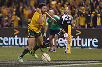 MELBOURNE, 29 JUNE 2013 - Adam ASHLEY-COOPER of the Wallabies celebrates his try during the Second Test match between the Australian Wallabies and the British & Irish Lions at Etihad Stadium on 29 June 2013 in Melbourne, Australia. (Photo Sydney Low / sydlow.com)