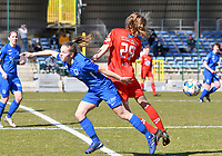 Luna Vanhoudt (43) of KRC Genk battles for the ball with Hanne Mylle (29) from Woluwe during a female soccer game between FC Femina White Star Woluwe and KRC Genk on the 17 th matchday of the 2020 - 2021 season of Belgian Scooore Womens Super League , Saturday 20 th of March 2021  in Woluwe , Belgium . PHOTO SPORTPIX.BE | SPP | JILL DELSAUX