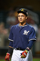 Salt River Rafters Isan Diaz (12), of the Milwaukee Brewers organization, during the Bowman Hitting Challenge on October 8, 2016 at the Salt River Fields at Talking Stick in Scottsdale, Arizona.  (Mike Janes/Four Seam Images)