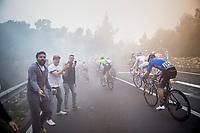 peloton up the Capo Berta (38 km's before the finish)<br /> <br /> 108th Milano - Sanremo 2017