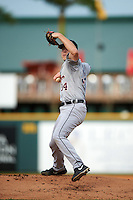 Lakeland Flying Tigers starting pitcher Artie Lewicki (34) delivers a pitch during a game against the Bradenton Marauders on April 16, 2016 at McKechnie Field in Bradenton, Florida.  Lakeland defeated Bradenton 7-4.  (Mike Janes/Four Seam Images)