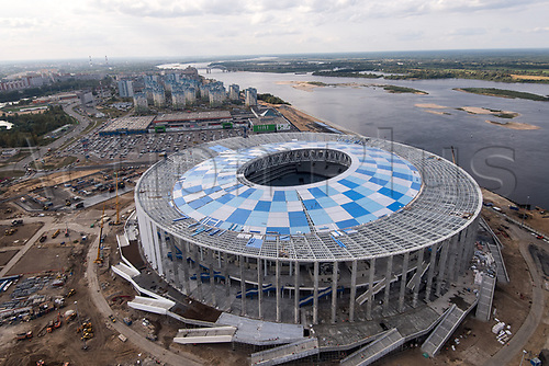26th August 2017, Novgorod, Russia; Picture of the Nizhny Novgorod Stadium taken in Nizhny Novgorod, Russia, 26 August 2017. The city is host to one of the venues of the FIFA2018 Soccer World Cup in Russia.