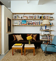 Simple industrial-style shelving surrounds a small daybed creating an enclosed space in this loft apartment for reading or contemplation