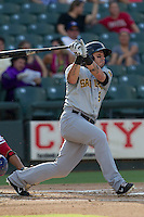 Salt Lake Bees first baseman Luis Rodriguez (6) follows through on his swing during the Pacific Coast League baseball game against the Round Rock Express on August 10, 2013 at the Dell Diamond in Round Rock, Texas. Round Rock defeated Salt Lake 9-6. (Andrew Woolley/Four Seam Images)