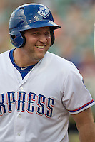 Round Rock Express designated hitter Lance Berkman (12) smiles before an at bat during the Pacific Coast League baseball game against the Salt Lake Bees on August 10, 2013 at the Dell Diamond in Round Rock, Texas. Round Rock defeated Salt Lake 9-6. (Andrew Woolley/Four Seam Images)