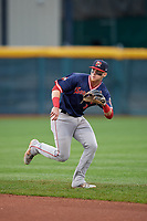 Portland Sea Dogs second baseman Brett Netzer (3) catches a soft line drive during an Eastern League game against the Erie SeaWolves on June 17, 2019 at UPMC Park in Erie, Pennsylvania.  Portland defeated Erie 6-3.  (Mike Janes/Four Seam Images)